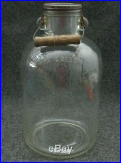 Vintage ONE GALLON GLASS JAR BOTTLE JUG with BAIL WOOD & WIRE HANDLE
