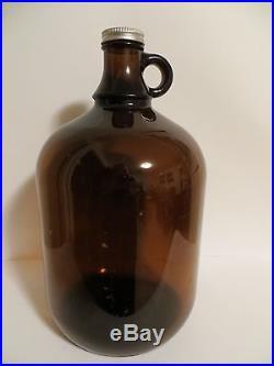 Vintage One Gallon Brown/Amber Glass Handled Jug With Lid # B0665- 11-3/4Tall