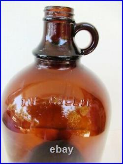 Vintage One Gallon Brown Glass Handled Jug amber color preserve jar collectib F