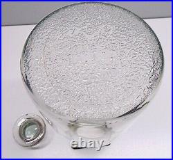 Vintage Owens Illinois 1 Gallon Embossed Glass Jar Jug With Lid & Wire Bail Handle