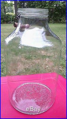 Vintage Owens-Illinois 5 Gallon Glass Pickle Jar, Wire Bail & Older Wood Handle
