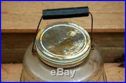 Vintage Owens Illinois Duraglas Glass Pickle Barrel Jar with Handle & Lid 13 Tall