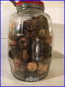 Vintage Owens Illinois Glass Co. 1955 Barrel Pickle Jar Red Lid Wood Handle 13