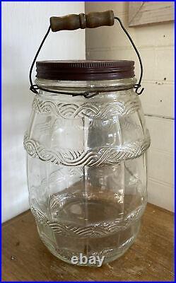 Vintage PICKLE JAR RED LID and METAL HANDLE 1 GALLON Barrel Shaped Glass Jar