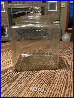 Vintage PLANTERS Peanut Glass Store Display Jar with Lid Square Peanut Handle