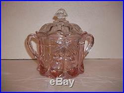 Vintage Pink Iridescent Glass Cherry Thumbprint Cookie Biscuit Jar Double Handle