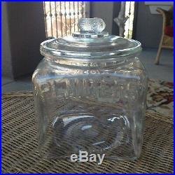 Vintage Planters Peanut Glass Store Display Jar and Lid with Peanut Handle 9.5