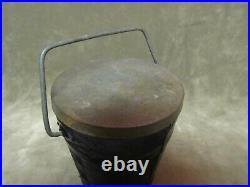 Vintage Pressed Pattern Glass Bucket withBale Handle withTin Lid Purple Color Jar