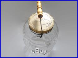 Vintage Primitive Duraglas Pickle Jar with Bale and Wooden Handle ALL ORIGINAL