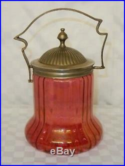 Vintage Ribbed Cranberry Glass Biscuit Jar Silver Plated Handle and Lid