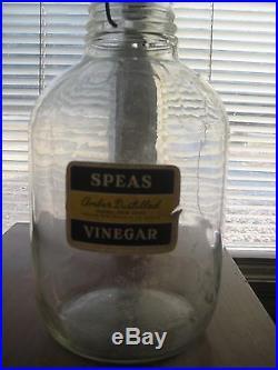 Vintage SPEAS U-SAVIT HANDLE Clear Glass with LABEL 1 GALLON Zinc LID