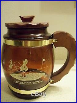Vintage Siesta Ware Golf Themed Glass Cookie/Snack JarWood Lid & Handle