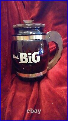 Vintage Siesta Ware Think Big Large Glass Cookie Jar Mug With Wood Handle & Lid