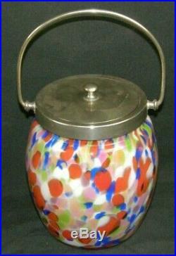 Vintage Spatterware End of Day Glass Handled Cracker Jar Pail