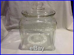 Vintage Square PLANTERS Peanut Handle Lid Glass Store Display 5 Cents Jar