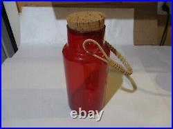 Vintage Takahashi Red Blown Glass Tall Jar w Wicker Rattan Handle Cork Lid Japan