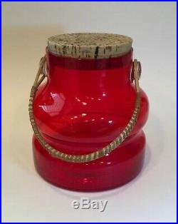 Vintage Takahashi Red Glass Jar With Cork Top And Wicker Handle, 1960s