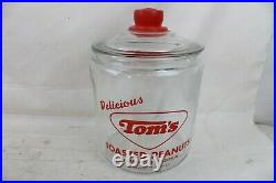 Vintage Tom's Toasted Peanuts Glass Jar Clear Lid Handle Store Counter Display