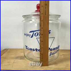 Vintage Tom's Toasted Peanuts Jar with Glass Lid and Red embossed Tom's Handle