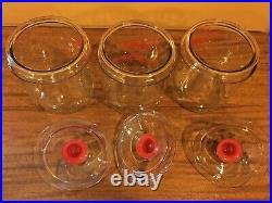 Vintage Tom's Toasted Peanuts Red Glass Jars with Handle Lids Counter Display VGC