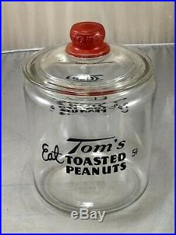 Vintage Toms Peanuts Glass Jar & Glass Lid with Embossed Red Toms Handle