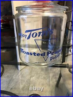 Vintage Toms Toasted Peanuts Glass Blue Letter Jar Lid Red Embossed Handle