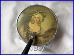 Vintage Vanity Jar with Handled Mirror Lid Top Victorian Lady Footed Glass