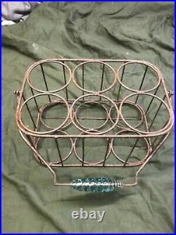 Vintage Wire Metal Milk, Oil, Bottle, Jar Carrier Holder Rack & GLASS HANDLE
