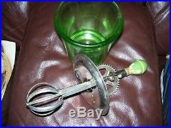 Vintage depression green glass egg beater & 4-cup measuring jar green handle D&B