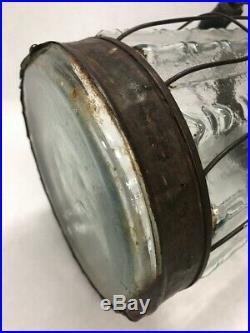 Vintage glass metal container jar spout handle wire outdoor centerpiece