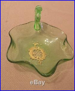 Vintage hand blown ornate gold gilded green Czech glass dish tray jar with handle