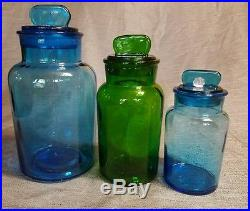 Vintage italy apothecary jar glass set blue and green. Fin handle. EUC