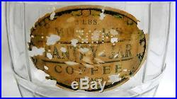 Vtg Advertising Millar's Pantry Coffee Glass Barrel with Wire Bail Handle