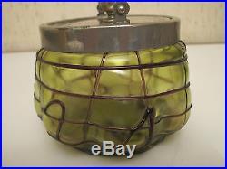Vtg Antique Art Nouveau Glass Loetz Lidded Glass Biscuit Tobacco Jar With Handle