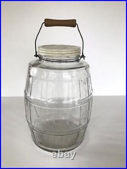 Vtg Antique PICKLE JAR Duraglas Barrel Glass wood wire handle Old Store Candy