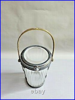 Vtg Art Deco Glass Covered Jar with Handle Metal Floral Encased 7.5'' T 4''W