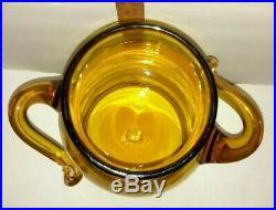 Vtg Blenko Art Glass Wheat 7327S Apothecary Handled Jug Mushroom Stopper Jar