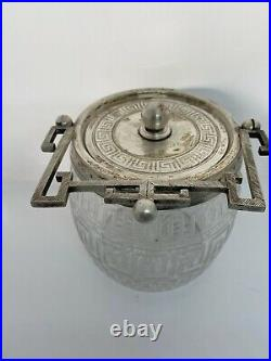 Vtg Chinese Etched Cut Glass Ice Jar Bucket Silver Plate Lid Handle Greek Key