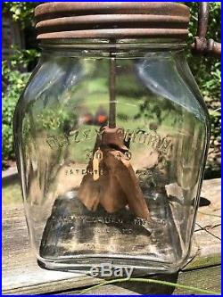 Vtg Dazey Butter Churn 4 QT Glass Jar Wood Paddles Handle No 40 Pat Feb 14'22