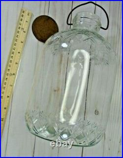 Vtg Embossed Glass Jar Jug 1 gal with Lid & Wire Bail Handle 175145 Antique Jar