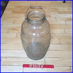 Vtg Gem Dandy Duraglas Barrel Butter Glass Jar Wood Handle Embossed Cow 5 Gallon