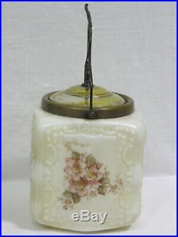 Vtg Glass Cracker Biscuit Jar w Pink Floral Decor Embossed Scrolls Ornate Handle