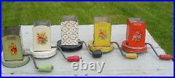 Vtg Hand Crank Nut Grinder Glass Jar Decal Lot 5 Hazel Atlas Androck Retro Old