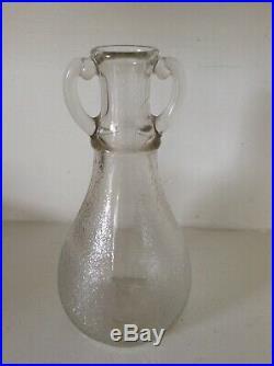 Vtg Hazel Atlas Clear Glass Syrup Jug Jar 9.5 inches double handle curved rim