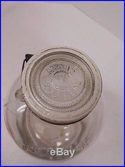 Vtg ONE GALLON Glass CANNING JAR Jug ATLAS EDJ Seal WOOD HANDLE 11 1/2 Bottle