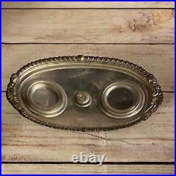 Vtg Sheridan E. P. S Silverplate Tea Condiment Handled Tray with Lidded Glass Jars