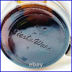 Vtg Siesta Ware #6 South of the Border Brown Glass Cookie JarWood Lid Handle 9