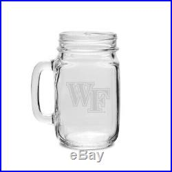 Wake Forest Crystal 470ml Drinking Jar With Handle. Collegiate Crystal & Glass