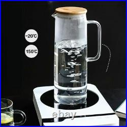 Water Bottle Jar with Lid and Handle Transparent Large Capacity Hot or Cold Use