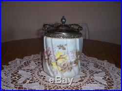 Wave Crest Opaque Bisquit Jar With Yellow Rose LID And Handle